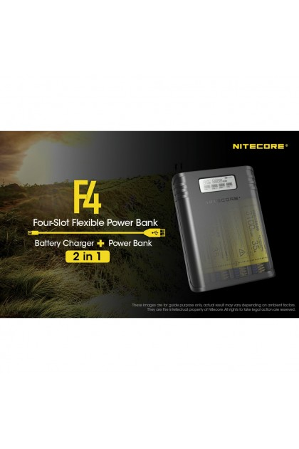 Nitecore F4 Four-Slot Flexible Power Bank Charger for 18650 Battery