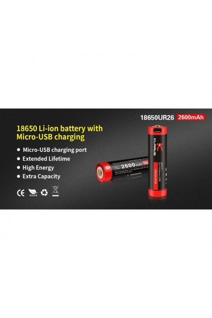 Klarus 18650 Li-ion 2600mAh Micro USB Charging Rechargeable Battery
