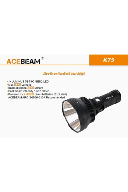 Acebeam K75 Ultra-High Performance LED Flashlight up to 2500 Meters Throw